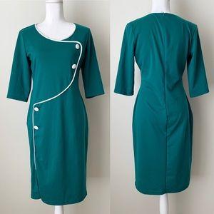 Green midi dress with white detail